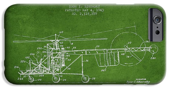 Helicopter iPhone Cases - Sikorsky Helicopter patent Drawing from 1943 iPhone Case by Aged Pixel
