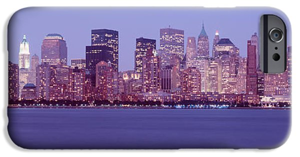 Hudson River iPhone Cases - Skyscrapers In A City, Manhattan, New iPhone Case by Panoramic Images