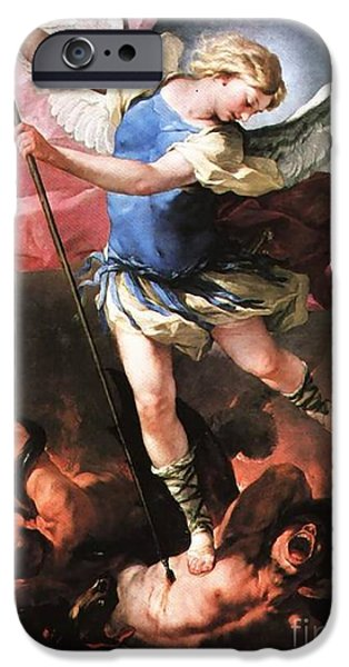 Etc. Paintings iPhone Cases - St. Michael iPhone Case by Matteo TOTARO