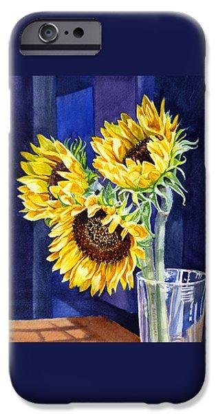 Christmas Greeting iPhone Cases - Sunflowers iPhone Case by Irina Sztukowski