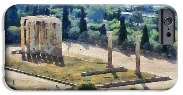 Zeus iPhone Cases - Temple of Olympian Zeus  iPhone Case by George Atsametakis