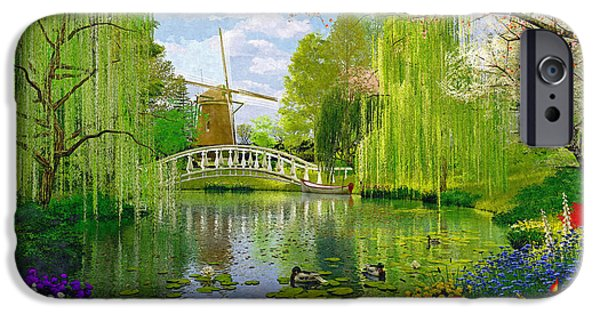 Willow Lake iPhone Cases - Windmill Lake iPhone Case by Dominic Davison