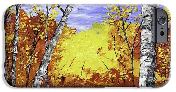 Birch Tree iPhone Cases - White Birch Tree Abstract Painting In Autumn iPhone Case by Keith Webber Jr
