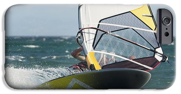 Wet Suit iPhone Cases - Windsurfing Tarifa, Cadiz, Andalusia iPhone Case by Ben Welsh
