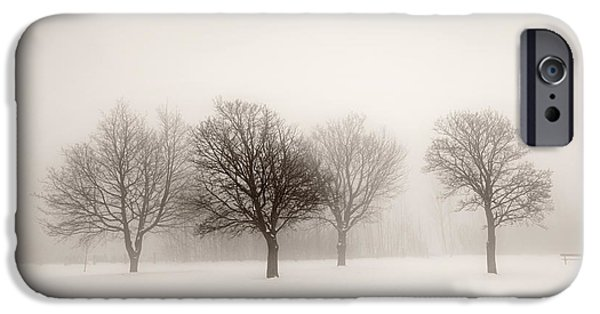 Snowy iPhone Cases - Winter trees in fog iPhone Case by Elena Elisseeva