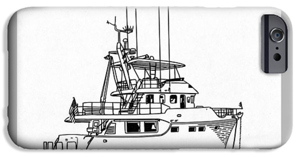 Owner Drawings iPhone Cases - 60 Foot Nordhav Grand Yacht iPhone Case by Jack Pumphrey