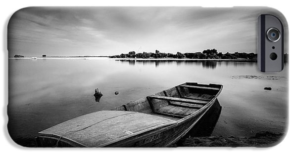 Grayscale iPhone Cases - 60 Seconds On Lake iPhone Case by Davorin Mance