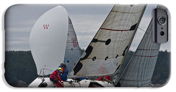 Boat iPhone Cases - Whidbey Island Race Week iPhone Case by Steven Lapkin