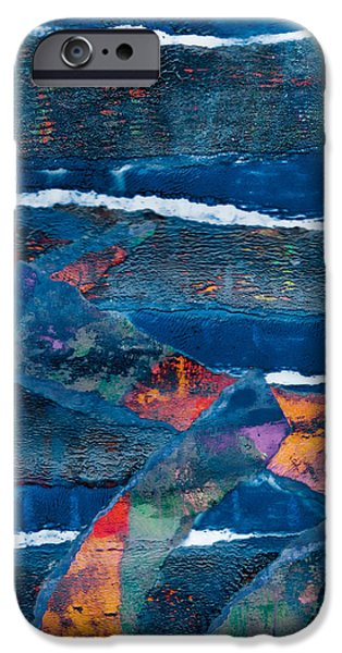 Torn iPhone Cases - Abstract in Blue iPhone Case by Laura L Leatherwood