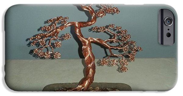 Plants Sculptures iPhone Cases - #62 Copper Braided Bonsai Tree wire sculpture iPhone Case by Ricks  Tree Art