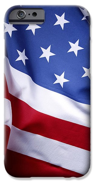 Nobody Photographs iPhone Cases - American flag iPhone Case by Les Cunliffe
