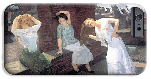 Hair-washing iPhone Cases - Sunday Women Drying Their Hair iPhone Case by John Sloan