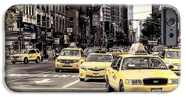 Facade Digital iPhone Cases - 6th Avenue NYC Yellow Cabs iPhone Case by Melanie Viola