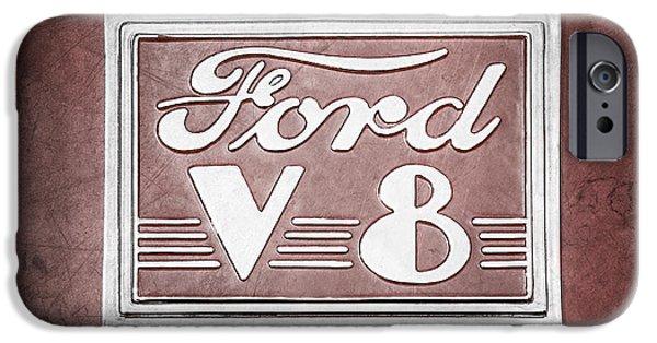 Ford V8 iPhone Cases - 1940 Ford Deluxe Coupe Emblem iPhone Case by Jill Reger