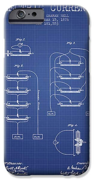 Telephone iPhone Cases - Alexander Graham Bell Electric Currents Bell Patent from 1876 -  iPhone Case by Aged Pixel