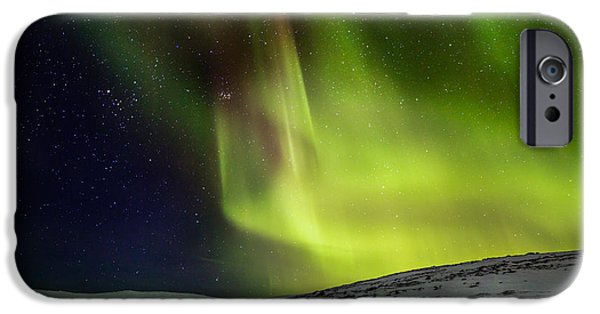 Wintertime iPhone Cases - Aurora Borealis Or Northern Lights iPhone Case by Panoramic Images