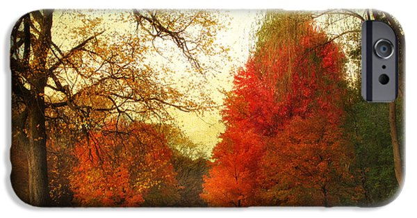 Walkway Digital iPhone Cases - Autumn Promenade iPhone Case by Jessica Jenney