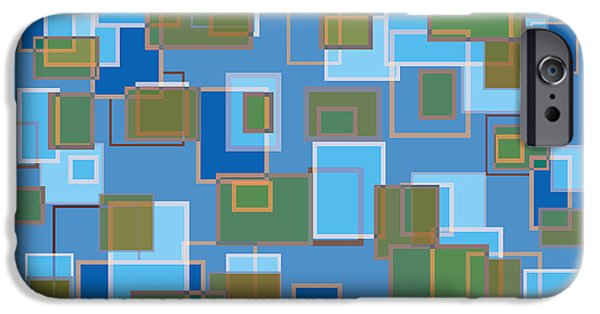 Blue Drawings iPhone Cases - Blue Abstract iPhone Case by Frank Tschakert