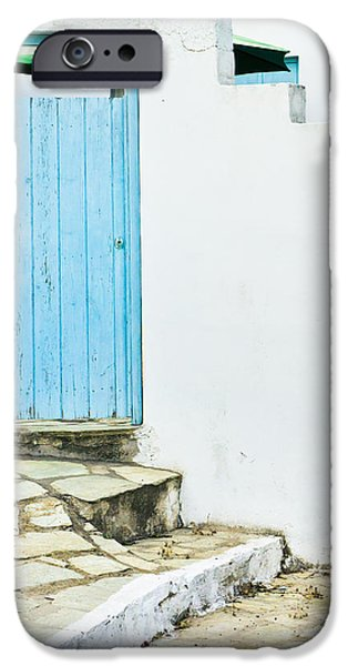 Alley Photographs iPhone Cases - Blue door iPhone Case by Tom Gowanlock