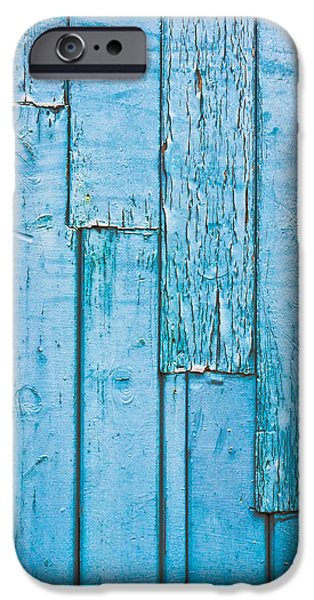 Old Plank Tables Photographs iPhone Cases - Blue wood iPhone Case by Tom Gowanlock