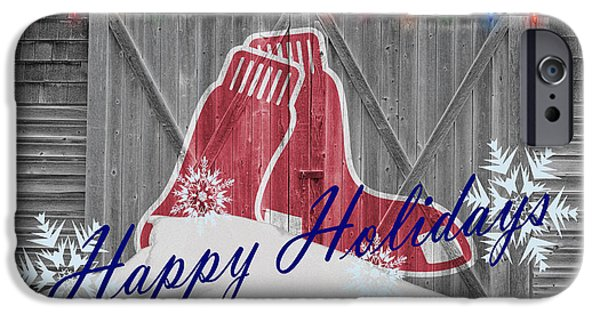 Santa iPhone Cases - Boston Red Sox iPhone Case by Joe Hamilton