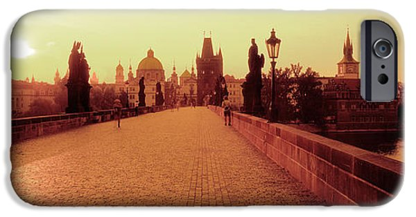 Charles River iPhone Cases - Charles Bridge, Prague, Czech Republic iPhone Case by Panoramic Images