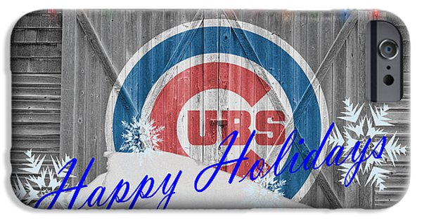 Baseball Glove iPhone Cases - Chicago Cubs iPhone Case by Joe Hamilton