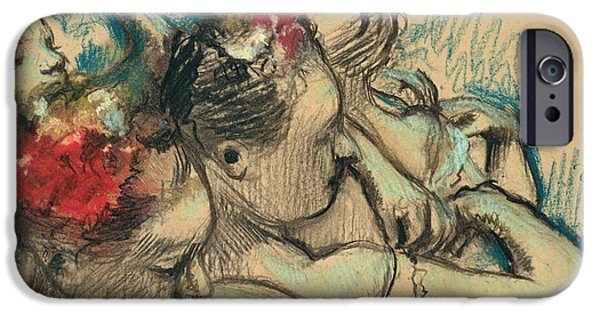 Ballet Drawings iPhone Cases - Dancers iPhone Case by Edgar Degas