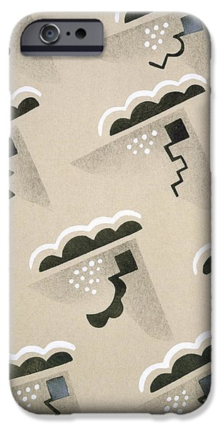 Storm Drawings iPhone Cases - Design from Nouvelles Compositions Decoratives iPhone Case by Serge Gladky