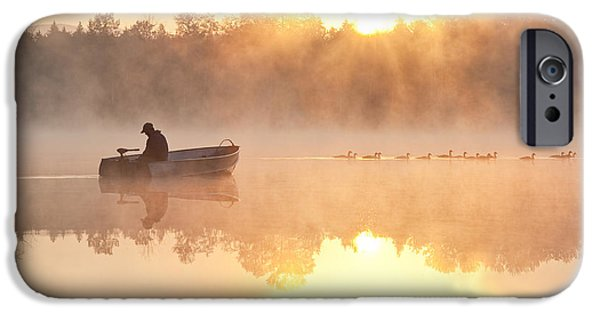 Local Attraction iPhone Cases - Fisherman In Boat, Lake Cassidy iPhone Case by Jim Corwin