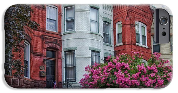 D.c. iPhone Cases - Historic Row Houses of Washington D C iPhone Case by Mountain Dreams