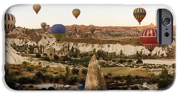 Hot Air Balloon iPhone Cases - Hot Air Balloons Over Landscape iPhone Case by Panoramic Images