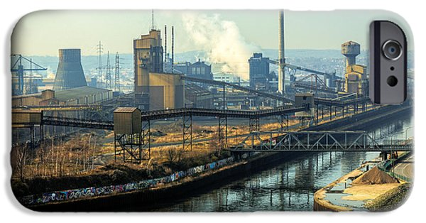 Business Pyrography iPhone Cases - Landscape with industrial architecture iPhone Case by Oliver Sved