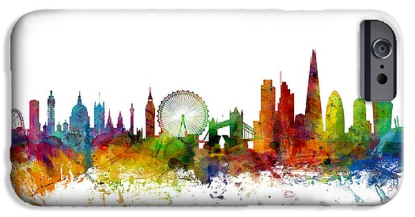 United iPhone Cases - London England Skyline iPhone Case by Michael Tompsett
