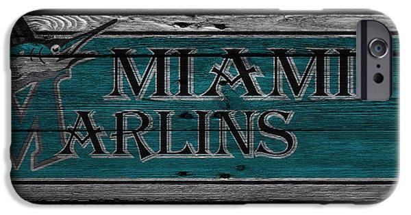Baseball Glove iPhone Cases - Miami Marlins iPhone Case by Joe Hamilton