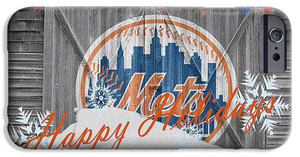 Baseball Glove iPhone Cases - New York Mets iPhone Case by Joe Hamilton