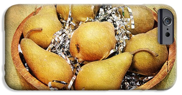 Pears Mixed Media iPhone Cases - 7 Pears At A Party iPhone Case by Andee Design
