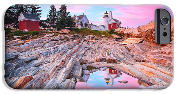 Field. Cloud iPhone Cases - Pemaquid Lighthouse iPhone Case by Emmanuel Panagiotakis