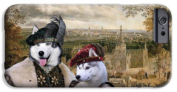 Husky Art iPhone Cases - Siberian Husky Art Canvas Print iPhone Case by Sandra Sij