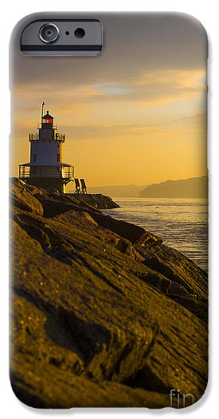 Lighthouse iPhone Cases - Sunrise at Spring Point Lighthouse iPhone Case by Diane Diederich