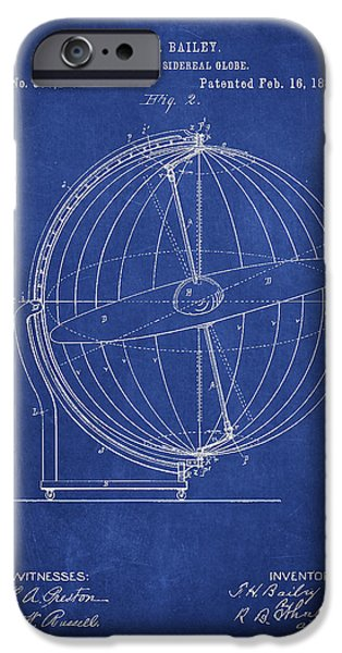 Globe iPhone Cases - Terrestro Sidereal Globe Patent Drawing From 1886 iPhone Case by Aged Pixel