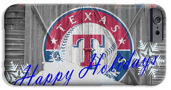 Baseball Glove iPhone Cases - Texas Rangers iPhone Case by Joe Hamilton