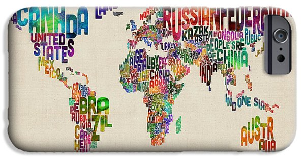 Text Map iPhone Cases - Text Map of the World iPhone Case by Michael Tompsett