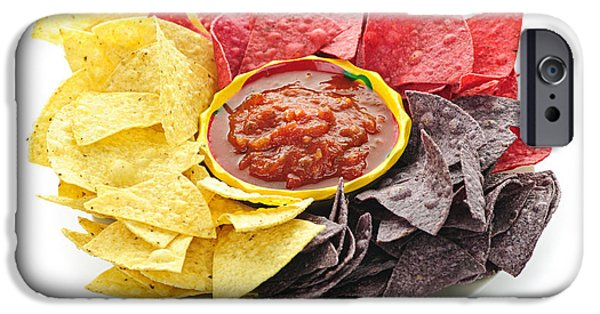 Chip iPhone Cases - Tortilla chips and salsa iPhone Case by Elena Elisseeva