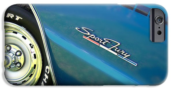 Fury iPhone Cases - 70 Plymouth Sport Fury GT details iPhone Case by Thomas Schoeller
