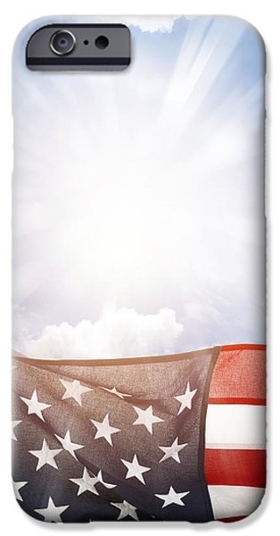 4th July iPhone Cases - American flag iPhone Case by Les Cunliffe