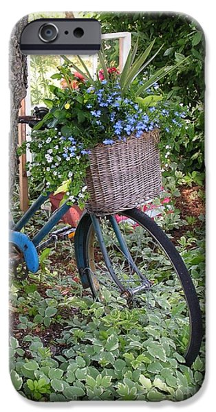 Basket iPhone Cases - #755 D45 Bike And A Basket of Flowers iPhone Case by Robin Lee Mccarthy Photography