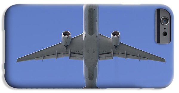 United Airlines Passenger Plane iPhone Cases - 777 Overhead iPhone Case by Rick Pisio