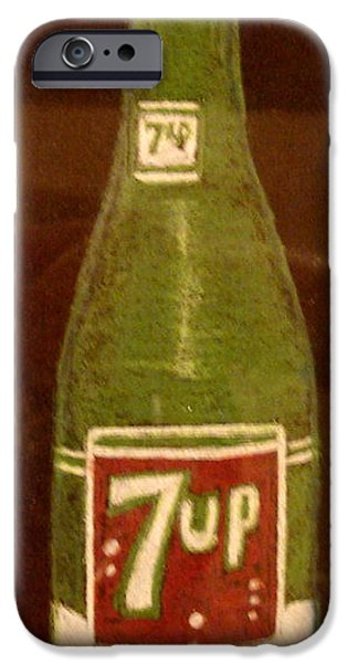 Antiques Pastels iPhone Cases - 7up Bottle iPhone Case by Joseph Hawkins