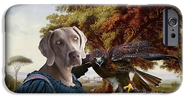 Weimaraners iPhone Cases -  Weimaraner Art Canvas Print iPhone Case by Sandra Sij